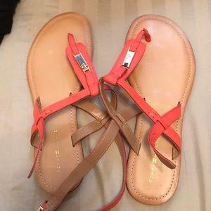 Tommy Hilfiger orange flat sandals